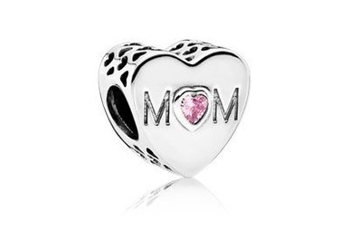 PANDORA Charm, Mother Heart, Pink CZ