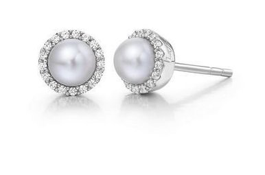 LAFONN FRESH WATER PEARL EARRINGS WITH CLEAR SIMULATED DIAMONDS IN STERLING SILVER BONDED WITH PLATINUM SIMULATED DIAMOND 0.34CTTW PEARL RD:5.00MM 36 stone