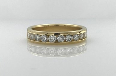14k Yellow Gold 1ctw Diamond Channel Set Stackable Wedding Band