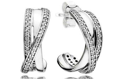 PANDORA Hoop Earrings, Entwined, Clear CZ