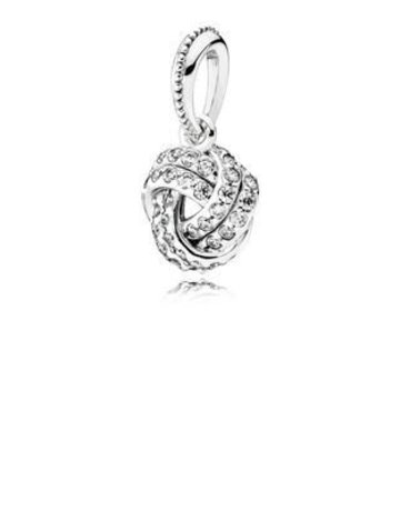 Pandora Retired - PANDORA Pendant, Sparkling Love Knot, Clear CZ