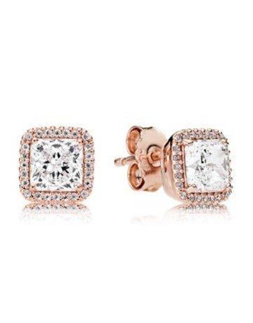 Pandora PANDORA Rose Stud Earrings, Timeless Elegance, Clear CZ