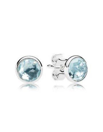 Pandora Retired - PANDORA Stud Earrings, March Droplets, Aqua Blue Crystal