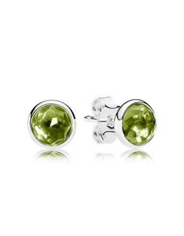 Pandora Retired - PANDORA Stud Earrings, August Droplets, Peridot