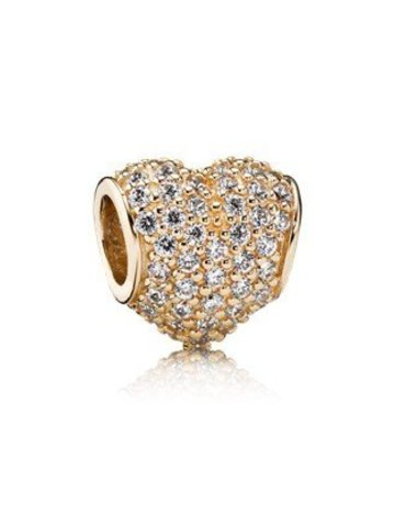 Pandora PANDORA Charm, 14k Pave Heart, Clear CZ