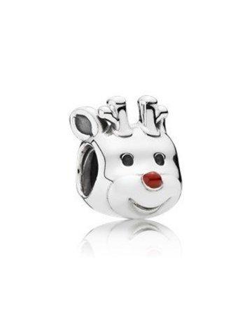 Pandora Retired - PANDORA Charm, Red-Nosed Reindeer, Red Enamel