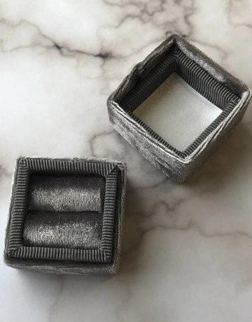 Bride Box Mini Velvet Lux Grey Ring Box