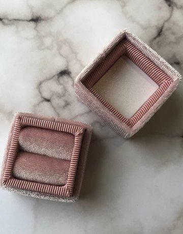 Bride Box Mini Velvet Lux Blush Ring Box