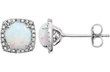 Sterling Silver October Birthstone Stud Earrings (Created Opal & .01ctw-Dia)