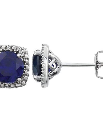 American Jewelry Sterling Silver September Birthstone Stud Earrings (Created Blue Sapphire & .01ctw-Dia)