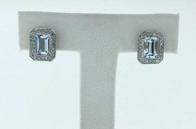 14k White Gold .16ctw Diamond Halo .98ctw Aquamarine Emerald Cut Stud Earrings