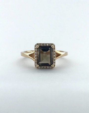 American Jewelry 14k Rose Gold .12ctw Diamond Halo 1.60ct Smoky Topaz Ring (Size 7)