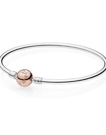 Pandora PANDORA Bangle Sterling Silver w/ Rose Clasp - 19 cm / 7.5 in