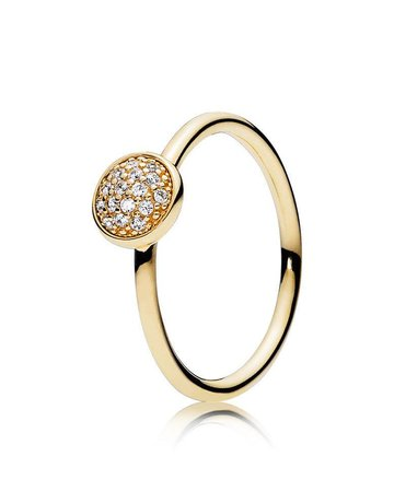 Pandora Retired - PANDORA Ring, 14k Dazzling Droplet, Clear CZ - Size 54