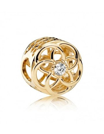 Pandora PANDORA Charm, 14k Loving Bloom, Clear CZ