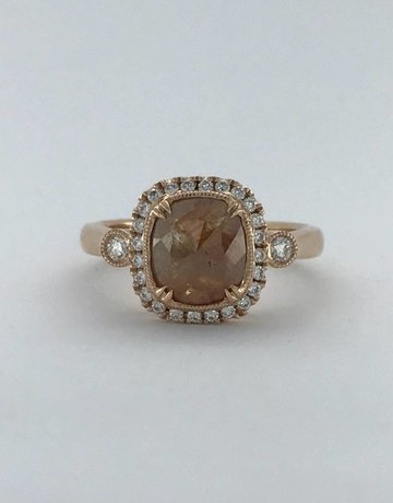 American Jewelry 14k Rose Gold 1.65ctw Fancy Natural Diamond Halo Engagement Ring (Size 6)