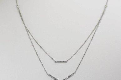 STERLING SILVER .10CTW DIAMOND CHEVRON NECKLACE