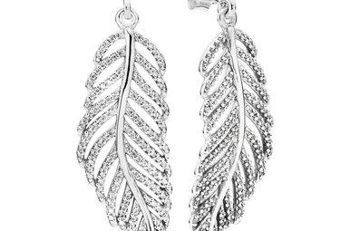 PANDORA Earrings, Light as a Feather, Clear CZ