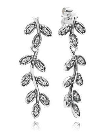 Pandora Retired - PANDORA Earrings, Sparkling Leaves, Clear CZ