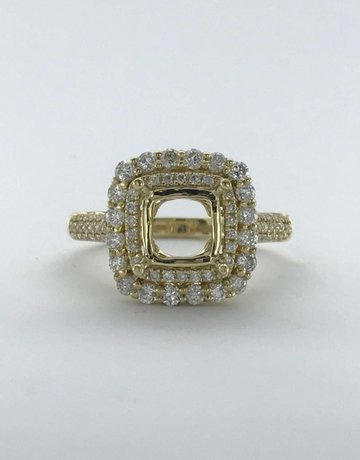 American Jewelry 14k Yellow Gold .96ctw Diamond Cushion Double Halo Pave Semi Mount Engagement Ring (Size 7)