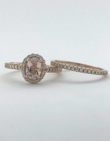American Jewelry 14k Rose Gold 1.10ctw Diamond Halo Morganite Engagement Ring Set (Size 6)