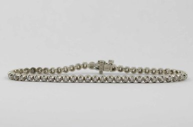 14KW 1CTW ROUND BRILLIANT DIAMOND LADIES TENNIS BRACELET