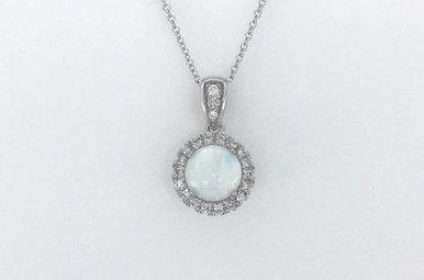 "14k White Gold 1/8ctw Diamond Halo Created Opal Pendant Necklace 18"""