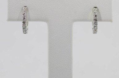 14KW .30CTW DIAMOND HUGGIE HOOP EARRINGS