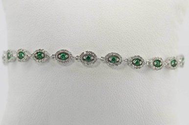 14KW 1.64CTW EMERALD & DIAMOND LADIES BRACELET
