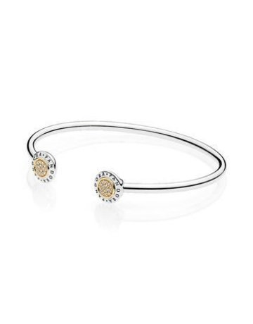 Pandora Retired - PANDORA Signature Bangle, 14k & Sterling Silver, Clear CZ - 16 cm / 6.3 in