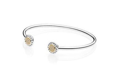 PANDORA Signature Bangle, 14k & Sterling Silver, Clear CZ - 17.5 cm / 6.9 in