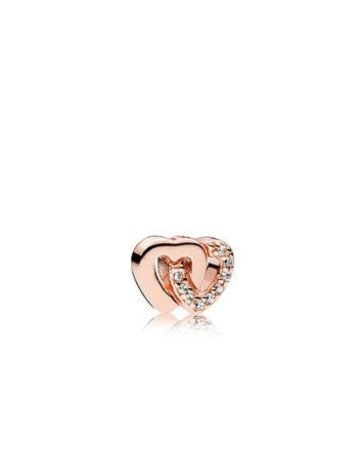 Pandora PANDORA Rose Interlocked Hearts Petite Locket Charm, Clear CZ