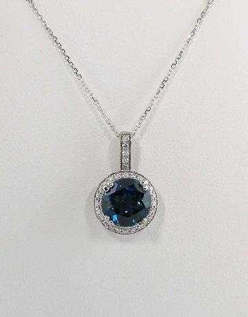 American Jewelry 14k White Gold Round London Blue Topaz & .24ctw Diamond Halo Pendant