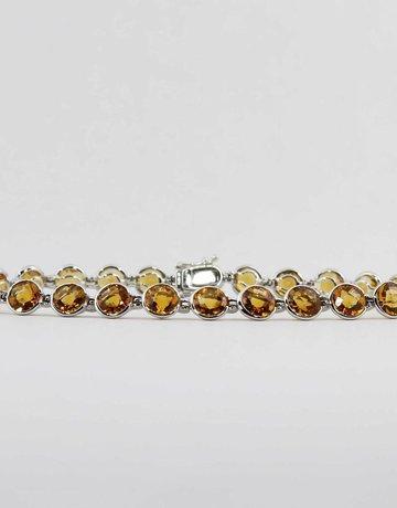 "American Jewelry 14k White Gold 10.8ctw Round Citrine 7"" Ladies Bracelet"
