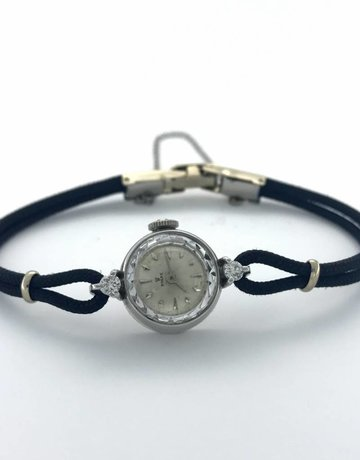 American Jewelry Ladies Dress Vintage Rolex Watch (Diamond Accented Cord Strap)
