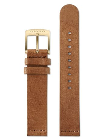 Kronaby Kronaby Brown Leather Gold Buckle 18mm Watch Strap