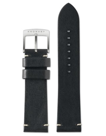 Kronaby Kronaby Black Leather 22mm Side Stitched Watch Strap