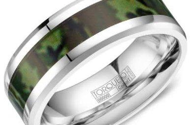 Cobalt Camo Pattern 8mm Gents Torque Wedding Band, Size 10