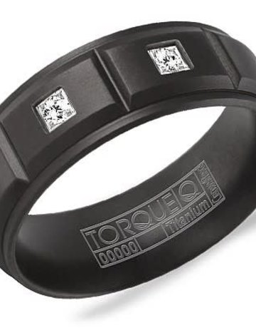 American Jewelry Black Titanium .12ctw Diamond 8mm Gents Torque Wedding Band (Size 10)