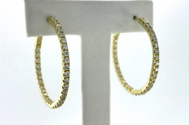18k Yellow Gold 1.60ctw VS Diamond Inside-Out Hoop Earrings 30mm