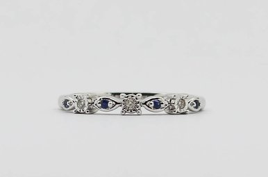 10KW .07ctw Blue Sapphire & Diamond Ladies Stackable Wedding Band
