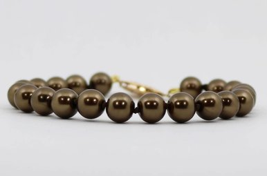 """Gold Filled 7.5-8mm 8"""" Chocolate Freshwater Pearl Strand Bracelet"""