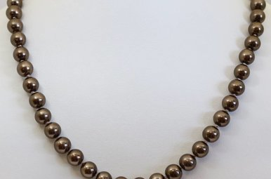 """Gold Filled 7.5-8mm 18"""" Chocolate Freshwater Pearl Strand Necklace"""