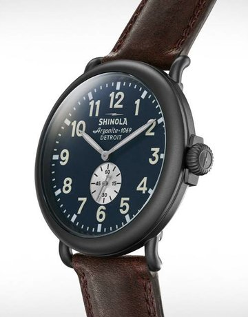 Shinola Shinola Runwell 47mm Gunmetal Case, Midnight Blue Dial, Cattail Grizzly Brown Leather Strap Watch
