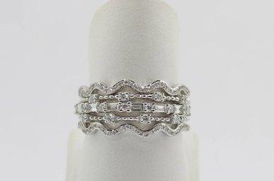 14k White Gold 1/2ctw Diamond Set of 4 Stackable Ladies Diamond Bands