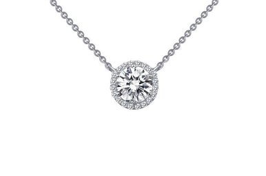 Lafonn Halo Pendant, Simulated Diamonds 1.23ctw, Sterling Silver 18""