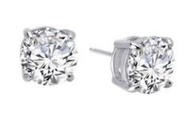 Lafonn Round Stud Earrings Simulated Diamonds 2ctw, Sterling Silver