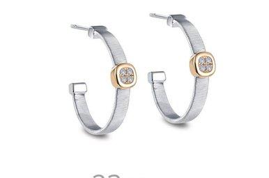 Lafonn Milano Hoop Earrings Simulated Diamonds, Sterling Silver