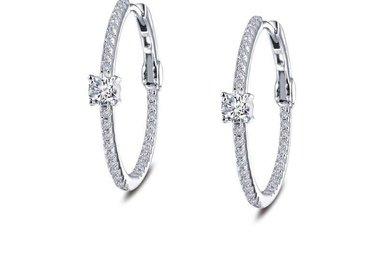 Lafonn Hoop Earrings Simulated Diamonds, Sterling Silver