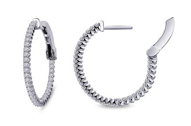 Lafonn Inside Outside Hoop Earrings Simulated Diamonds, Sterling Silver